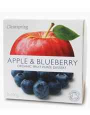 Clearspring Fruit Puree Apple & Blueberry 2 X 100g