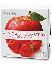 Clearspring Fruit Puree Apple & Strawberry 2 X 100g