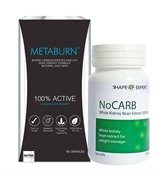 Metaburn Fat Burner & Nocarb Carb Blocker 60 Caps (One Months Supply)