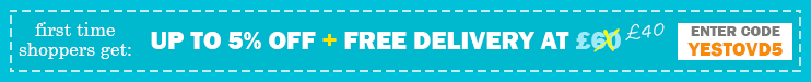 first time shoppers get: Up to 5% Off + Free Delivery at £40, Enter Code YESTOVD5